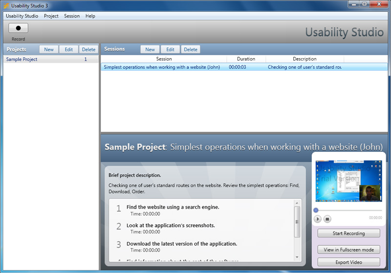 Usability Studio Screenshot